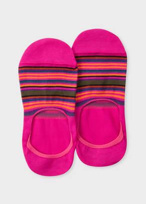 Paul Smith Women's Fuchsia Multi-Colour Striped Loafer Socks