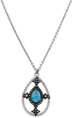 Armenta Old World Moonstone Labradorite Triplet & Diamond Necklace Pendant w/ Tags