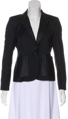Band Of Outsiders Leather-Trimmed Virgin Wool Blazer