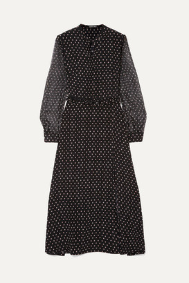 Markus Lupfer Alannah Ruffled Printed Silk-chiffon Dress - Black