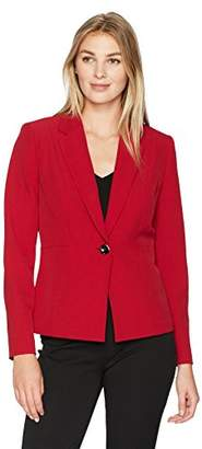Kasper Women's Stretch Crepe Notch Lapel 1 Button Jacket