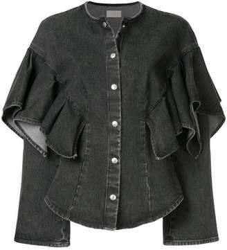 Sara Battaglia ruffle sleeve denim jacket