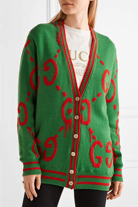 Gucci Reversible Wool-jacquard And Printed Silk-twill Cardigan - Green