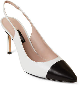 Nine West White & Black Exuberate Leather Slingback Pumps