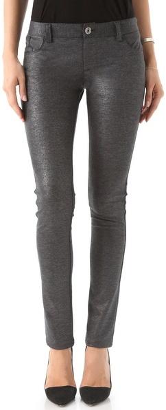 Alice + Olivia Metallic Ponte Skinny Pants