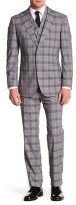 English Laundry Beige Glenplaid Two Button Peak Lapel Trim Fit Suit $449 thestylecure.com