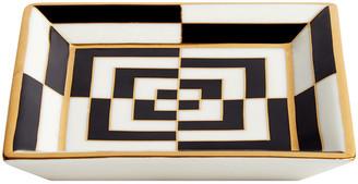 Jonathan Adler Op Art Porcelain Tray - Black/White/Gold - Square