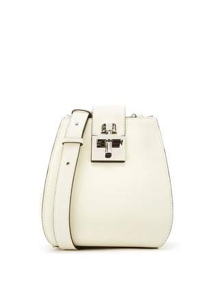 Oscar de la Renta White Leather Houston Bucket Bag