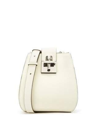 Oscar de la Renta White Leather Houston Bucket Bag