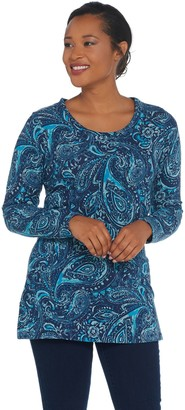Denim & Co. Petite Perfect Jersey Long-Sleeve Printed Tunic