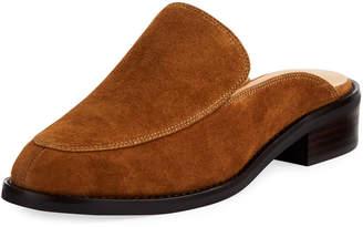 Neiman Marcus Ailey Suede Slide Loafer Mule, Brown
