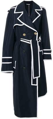 Thom Browne Asymmetrical Volume Trench Overcoat With Grosgrain Tipping In Memory Tech