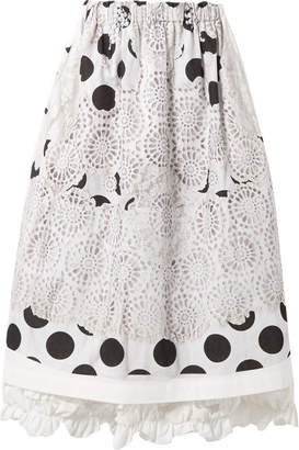 Comme des Garcons Ruffle-trimmed Printed Cotton-canvas Midi Skirt - White
