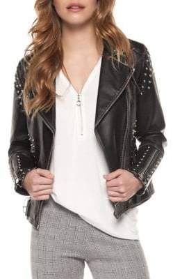 Dex Faux Leather Studded Moto Jacket