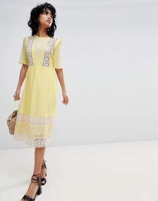 Asos Design DESIGN Embroidered & Lace Insert Midi Dress