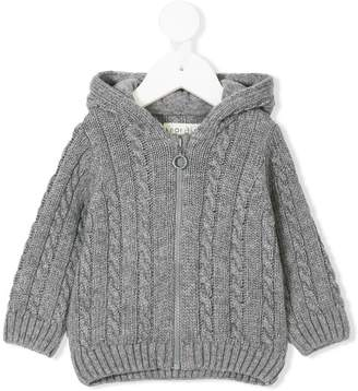 Knot cable hooded cardigan