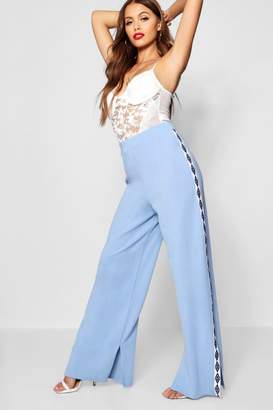 boohoo Sports Tape Wide Leg Sweat Pants