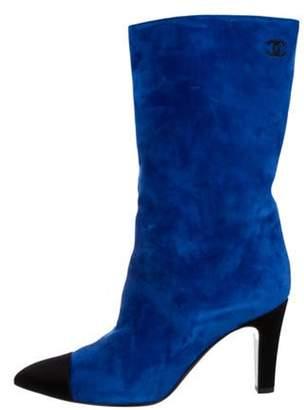 Chanel 2017 CC Suede Cap-Toe Boots blue 2017 CC Suede Cap-Toe Boots