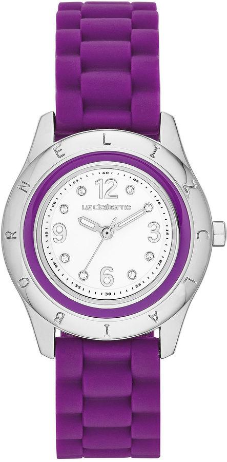 liz claiborne womens purple and silver tone bumpy silicone
