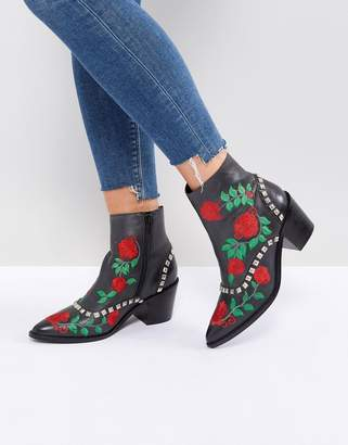 Asos Design ROMANCE Embroidered Western Boots
