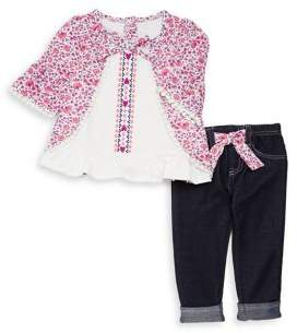 Nannette Little Girl's Two-Piece Floral Top and Pants Set