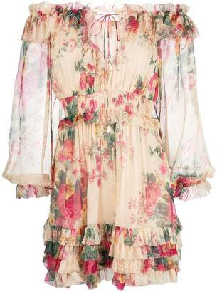 Zimmermann floral print ruffle trim dress