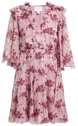 Giambattista Valli Floral Print Silk Crepe Mini Dress - Womens - Pink Multi