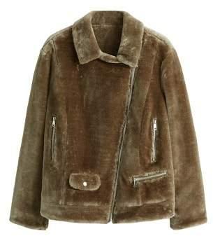 MANGO Violeta BY Faux fur biker jacket