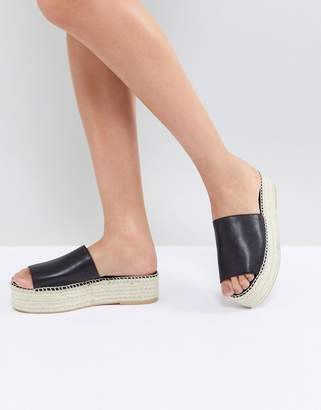 Vagabond Celeste Black Leather Slide Espadrilles
