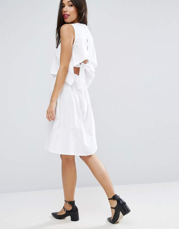 Asos ASOS Cotton Dress with Open Back and Tie Detail