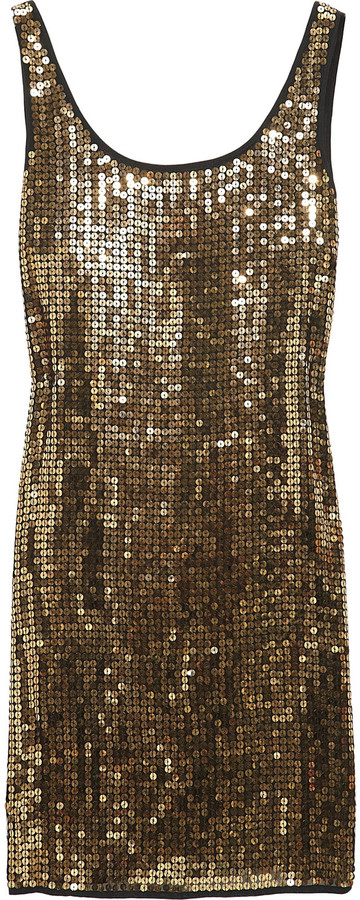 DKNY Sequined stretch-georgette dress