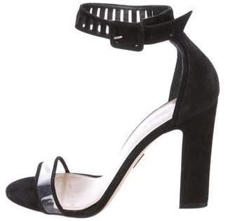 Tamara Mellon Suede Laser Cut Sandals