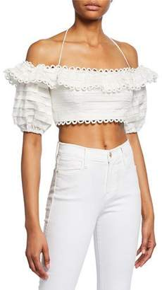 Zimmermann Allia Pintuck Off-Shoulder Top