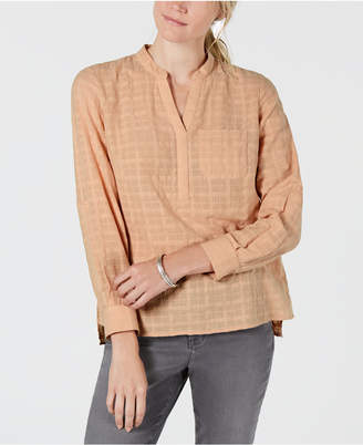 Style&Co. Style & Co Petite Cotton Textured Roll-Tab Top, Created for Macy's