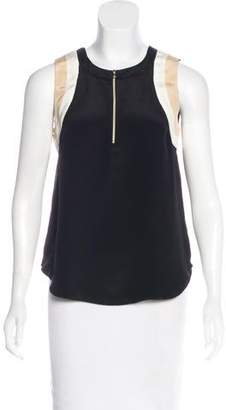L'Agence Silk Zip-Up Top