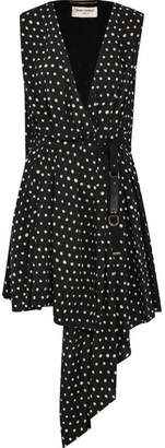 Saint Laurent Draped Polka-dot Crepe De Chine Mini Dress - Black