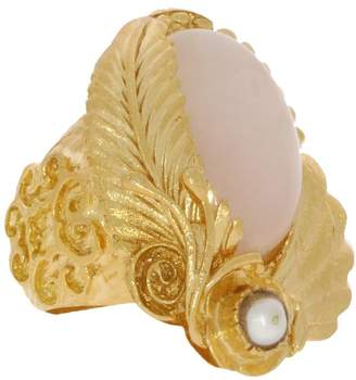 Ottoman Hands - Tyrell Rose Quartz and Pearl Rose Cocktail Ring