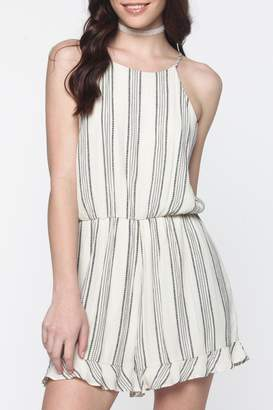 Everly Striped Bow-Tie-Back Romper