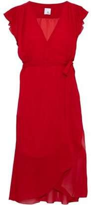 Iris & Ink Wren Ruffled Chiffon Wrap Dress