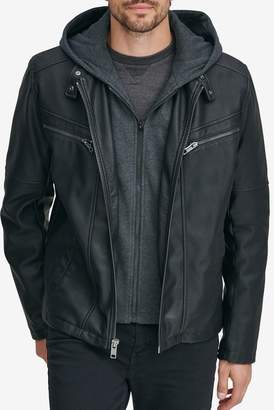 Andrew Marc Corbett Removable Knit Hood Faux Leather Jacket