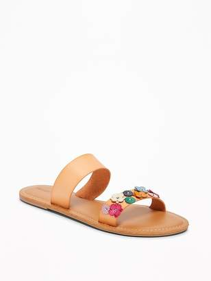 Old Navy Flower-Applique Double-Strap Sandals for Women