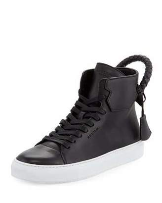 Buscemi Men's 125mm Leather High-Top Sneakers, Black