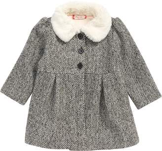 Ruby & Bloom Faux Fur Collar Herringbone Coat