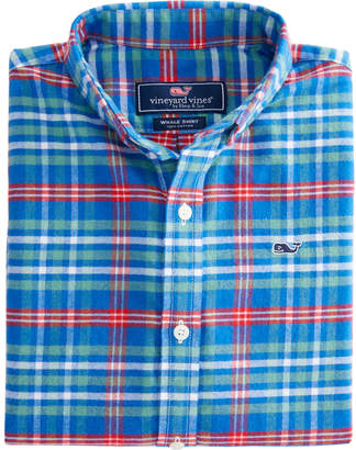 Vineyard Vines Boys Mill River Flannel Whale Shirt