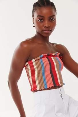 Urban Outfitters Tatiana Crochet Ruffle Cropped Tube Top