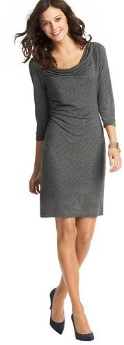 LOFT Mini Dot Print Side Ruched 3/4 Sleeve Dress