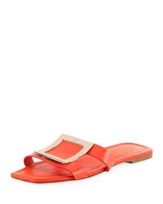 Roger Vivier Flat Leather Buckle Sandals, Orange