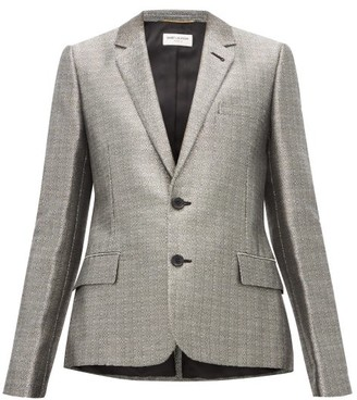 Saint Laurent Single Breasted Blazer - Womens - Silver
