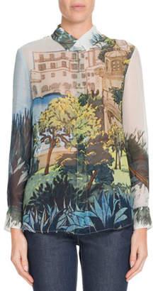 Altuzarra Button-Front Landscape-Print Silk Blouse