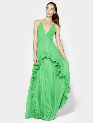 Halston Halter Pleated Gown